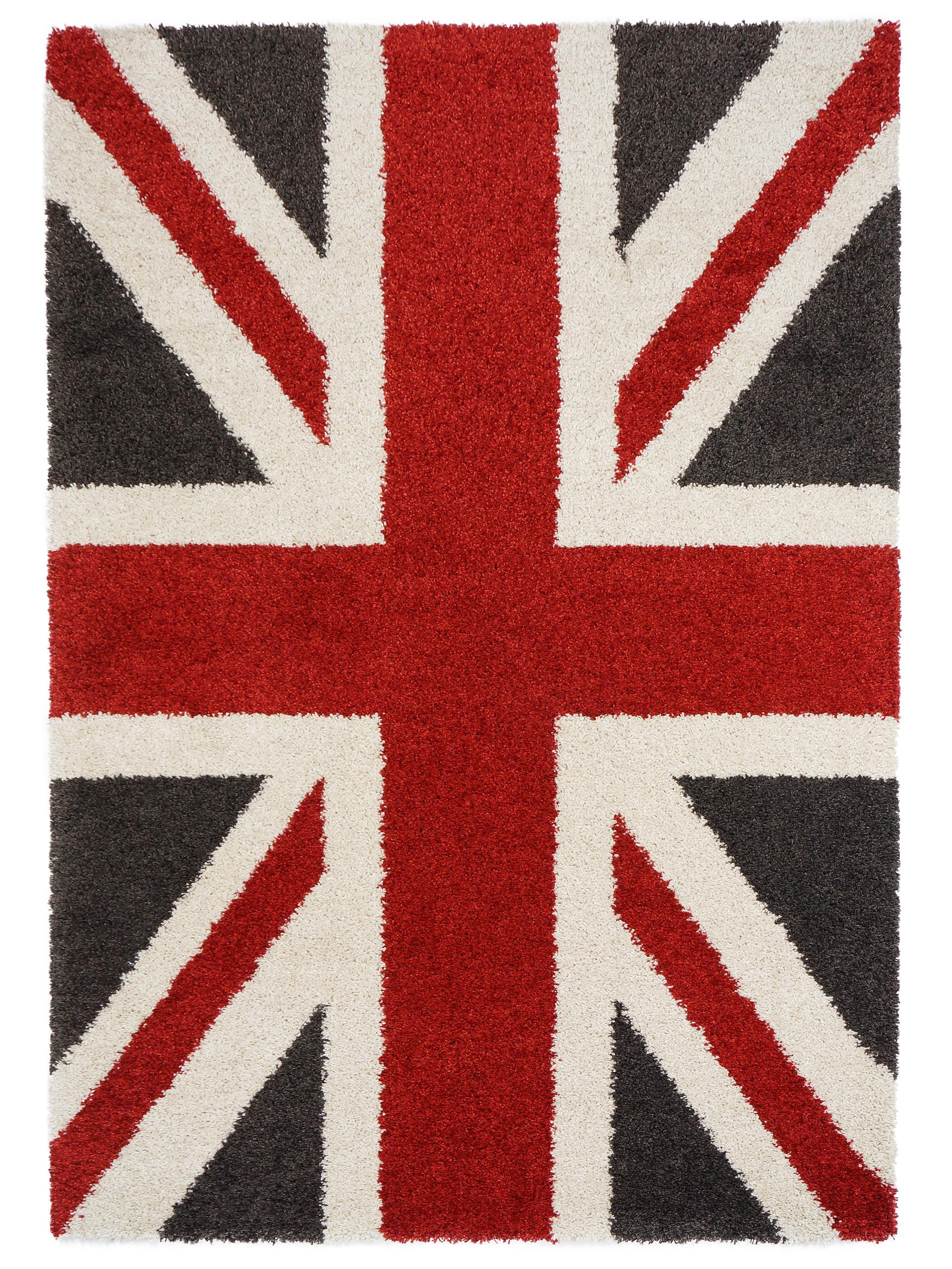 benuta Hochflor Shaggy Teppich Graphic Union Jack