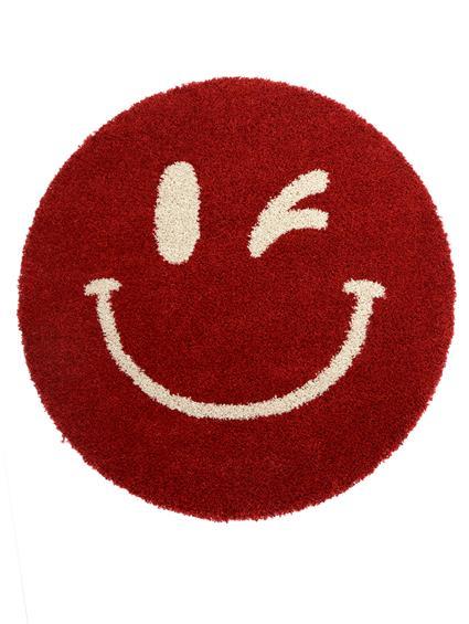 benuta Hochflor Shaggy Teppich Graphic Smiles Rot Gruen