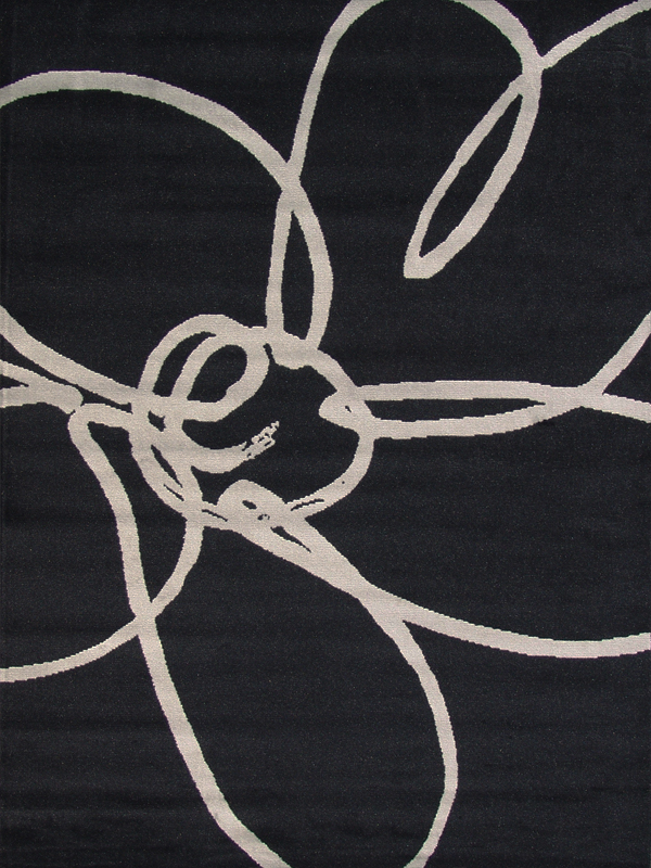benuta Velours Teppich Swing Blume schwarz NEU&OVP