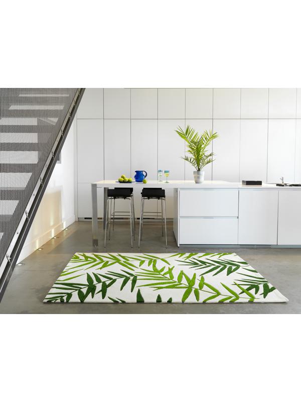 benuta Designer Teppich EDEN Palmenblätter beigegrün NEU