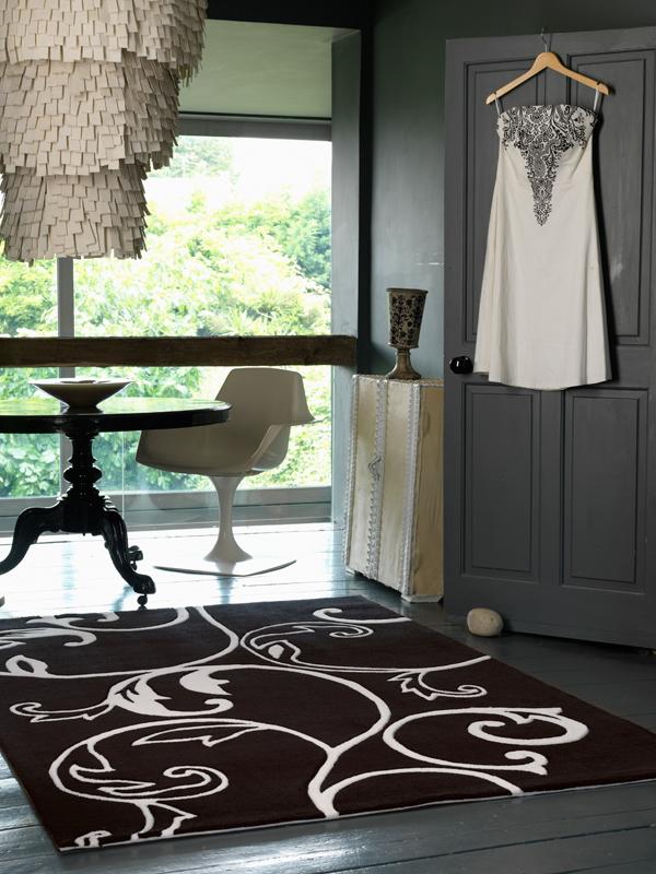 benuta Designer Teppich EDEN BlumenBlüten schwarzweiß
