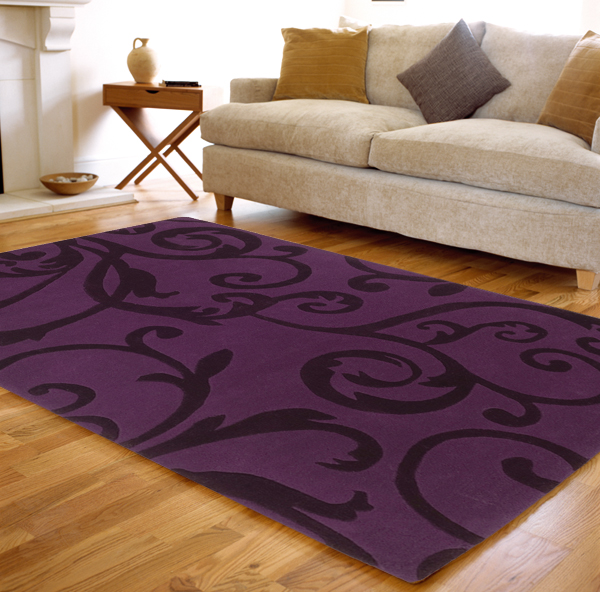 Lila teppich  benuta Moderner Designer Teppich AURA Wolle violett/lila NEU&OVP ...