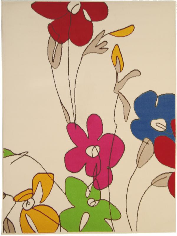 benuta Velours Teppich Swing Blumen beigebunt NEU&OVP